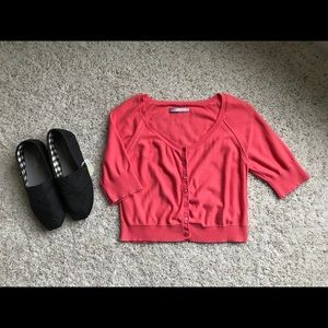 Cropped Coral Cardigan Sweater Women's Size Large